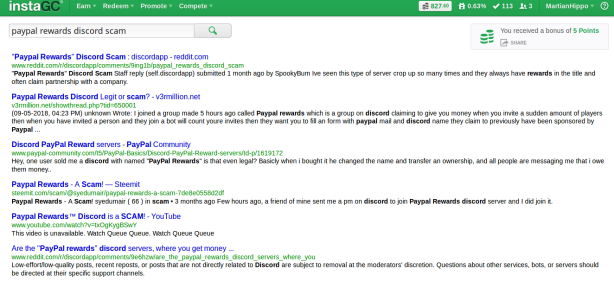 instagc search screenshot